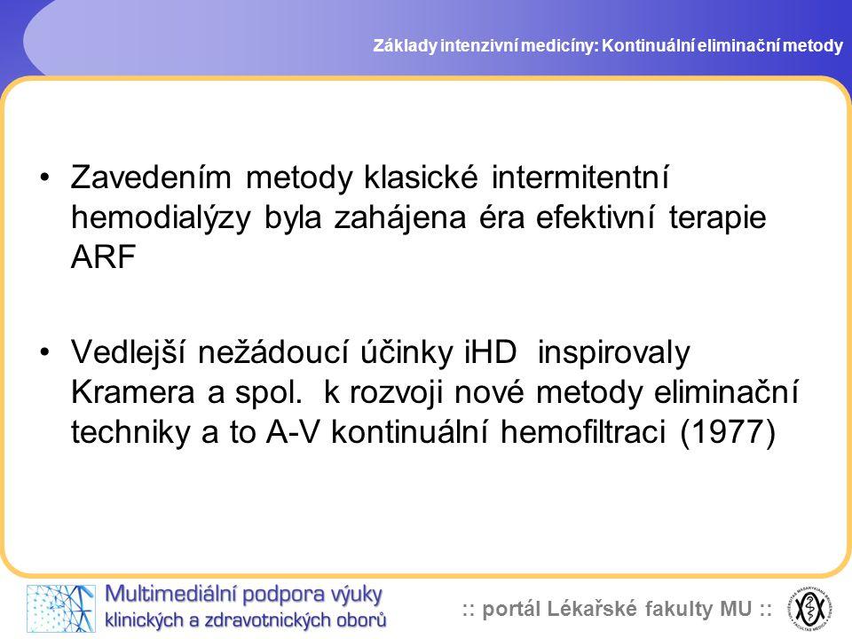 :: portál Lékařské fakulty MU :: Výhody CRRT Hemodynamická stabilita •u iHD nelze eliminovat epizody poklesu TK (předčasné přerušení, nemožnost zahájení z důvodu alterace hemodynamiky) •příčiny poklesu TK při iHD – více faktorů: - rapidní redukce objemu kolující krve - pokles osmolality séra s přesunem tekutiny do intersticia a intracelulárního prostoru Základy intenzivní medicíny: Kontinuální eliminační metody