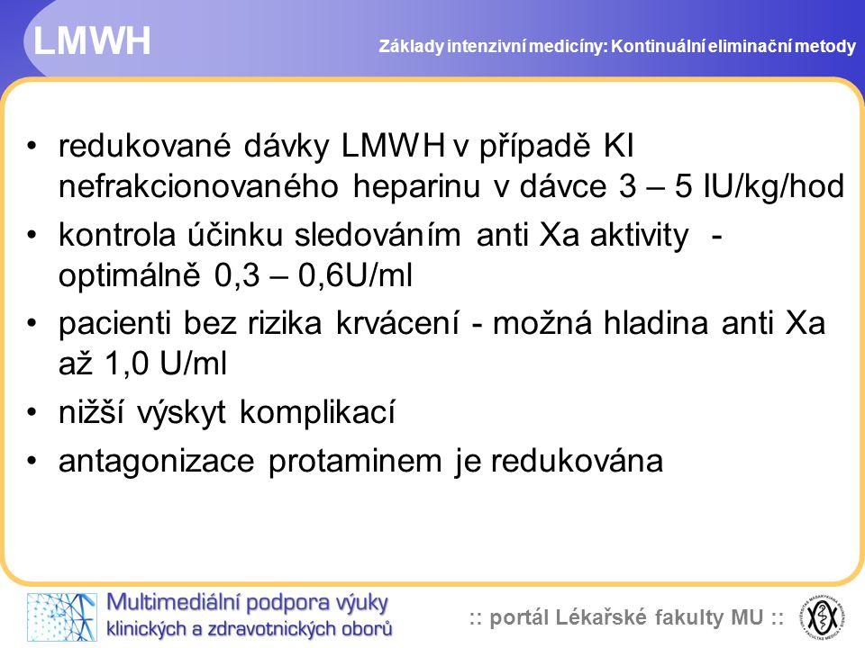 :: portál Lékařské fakulty MU :: LMWH •redukované dávky LMWH v případě KI nefrakcionovaného heparinu v dávce 3 – 5 IU/kg/hod •kontrola účinku sledován