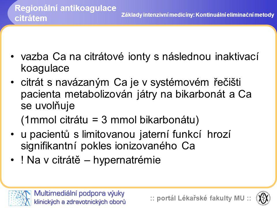 :: portál Lékařské fakulty MU :: Regionální antikoagulace citrátem •vazba Ca na citrátové ionty s následnou inaktivací koagulace •citrát s navázaným C