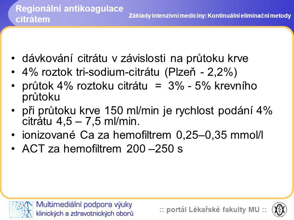 :: portál Lékařské fakulty MU :: Regionální antikoagulace citrátem •dávkování citrátu v závislosti na průtoku krve •4% roztok tri-sodium-citrátu (Plze