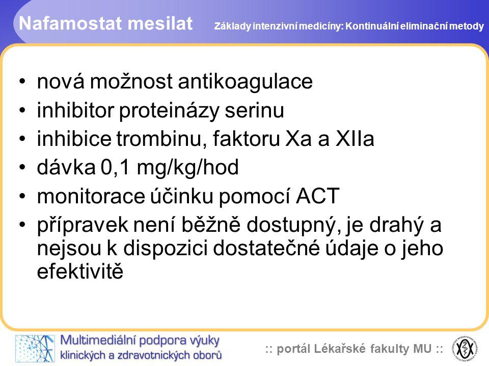 :: portál Lékařské fakulty MU :: Nafamostat mesilat •nová možnost antikoagulace •inhibitor proteinázy serinu •inhibice trombinu, faktoru Xa a XIIa •dá
