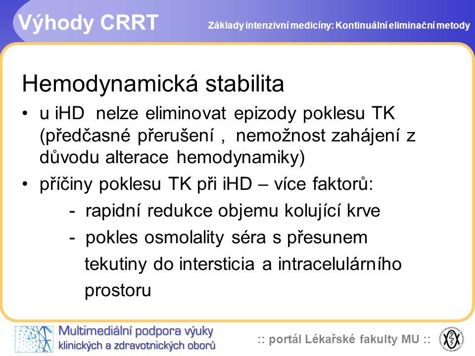 :: portál Lékařské fakulty MU :: Výhody CRRT Hemodynamická stabilita •u iHD nelze eliminovat epizody poklesu TK (předčasné přerušení, nemožnost zaháje