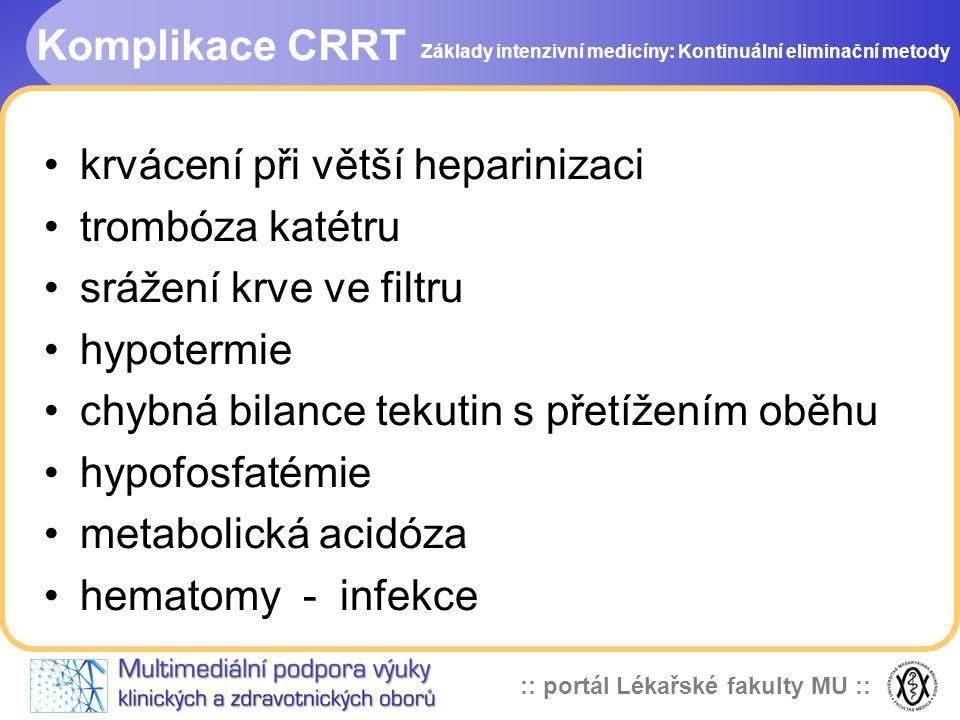 :: portál Lékařské fakulty MU :: Komplikace CRRT •krvácení při větší heparinizaci •trombóza katétru •srážení krve ve filtru •hypotermie •chybná bilanc