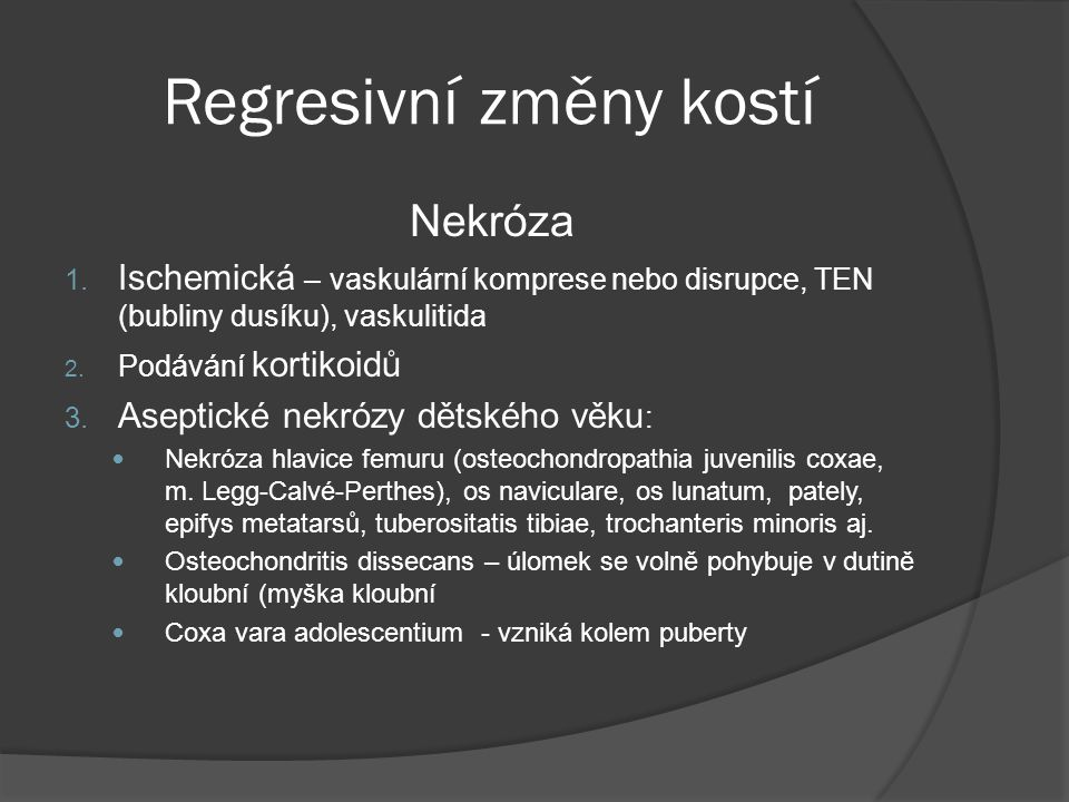 Infekční arthritidy  Hnisavá arthritis – koky, Neisseria gonorheae, Gram-negativní mikroby  Ulcerace chrupavky, flegmóna pouzdra, pyarthros, píštěle → ankylóza  Lymská choroba – ve 2.stadiu boreliózy vzniká migratorní polyarthritis (koleno, rameno, loket, kotník, mandibula)  Proliferativní synovitis, pannus, eroze chrupavky, spirochety jsou prokazatelné stříbřením  Tbc arthritis – u dětí, sérofibrinózní zánět s granulomy, v kloubu tbc hnis