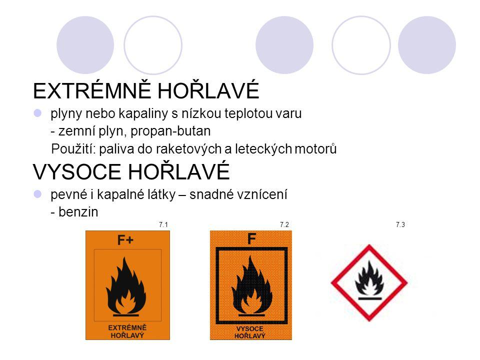 EXTRÉMNĚ HOŘLAVÉ  plyny nebo kapaliny s nízkou teplotou varu - zemní plyn, propan-butan Použití: paliva do raketových a leteckých motorů VYSOCE HOŘLA