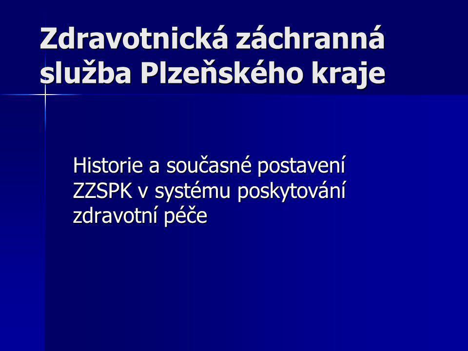Historie ZZS PK  Historie Zdravotnické záchranné služby Plzeňského kraje se začala odvíjet od 1.5.2003, kdy v návaznosti na vznik územně správních celků ( krajů ), byla realizována restruktualizace sítě dosavadních středisek zzs spravovaných státem  ZZS byla převedena do správy krajských úřadů a stala se tak nestátním ZZ.