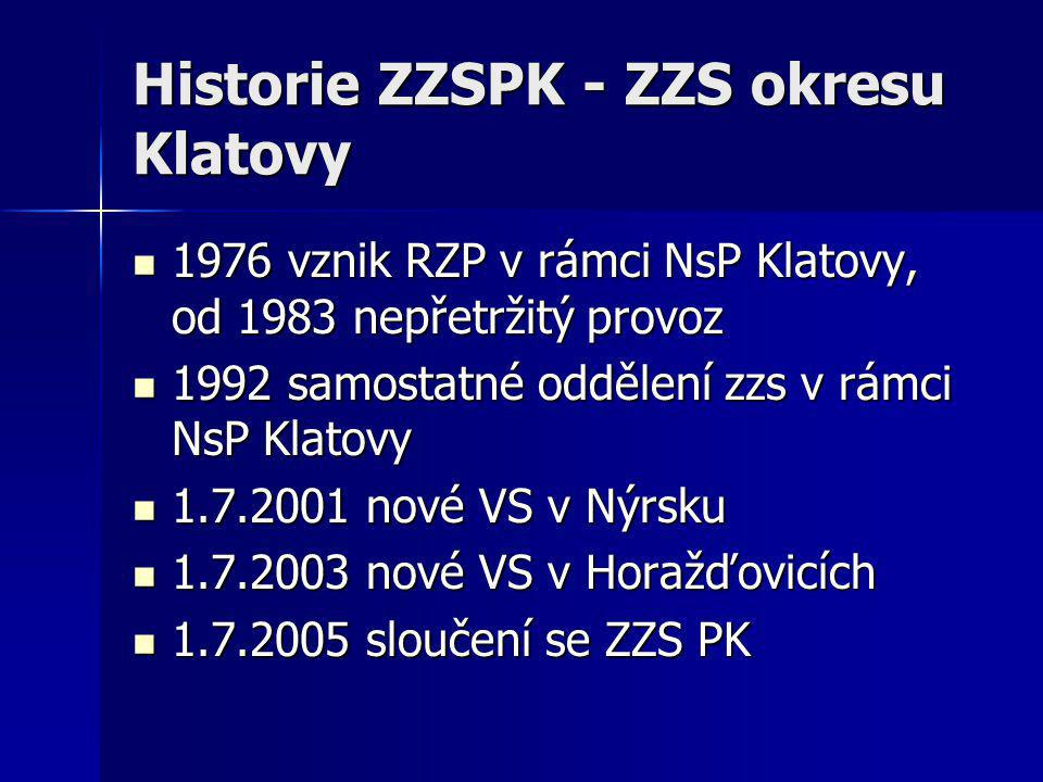 Historie ZZSPK - ZZS okresu Klatovy  1976 vznik RZP v rámci NsP Klatovy, od 1983 nepřetržitý provoz  1992 samostatné oddělení zzs v rámci NsP Klatov