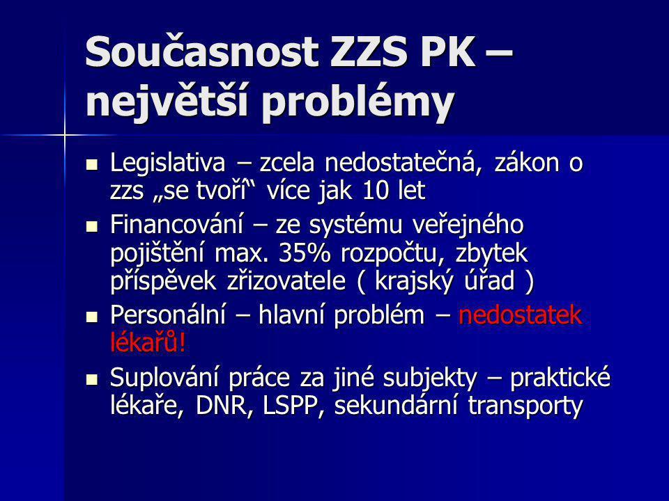 """Současnost ZZS PK – největší problémy  Legislativa – zcela nedostatečná, zákon o zzs """"se tvoří"""" více jak 10 let  Financování – ze systému veřejného"""