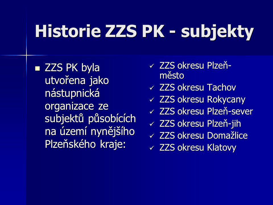 Historie ZZS PK - subjekty  ZZS PK byla utvořena jako nástupnická organizace ze subjektů působících na území nynějšího Plzeňského kraje:  ZZS okresu