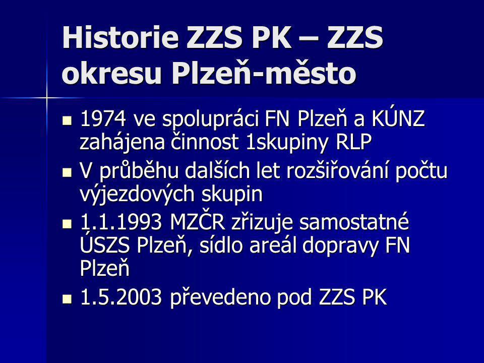 Historie ZZS PK- ZZS okresu Plzeň-jih  1.4.1993 zahájena provoz VS Blovice  1994 zahájen provoz VS Stod v areálu nemocnice a přemístění VS z areálu polikliniky Blovice do Penzionu Vlčice  1.5.2003 převedení ZZS okresu Pzeň- jih pod ZZS PK, do této doby byla ZZS PJ provozována nemocnicí ve Stodě