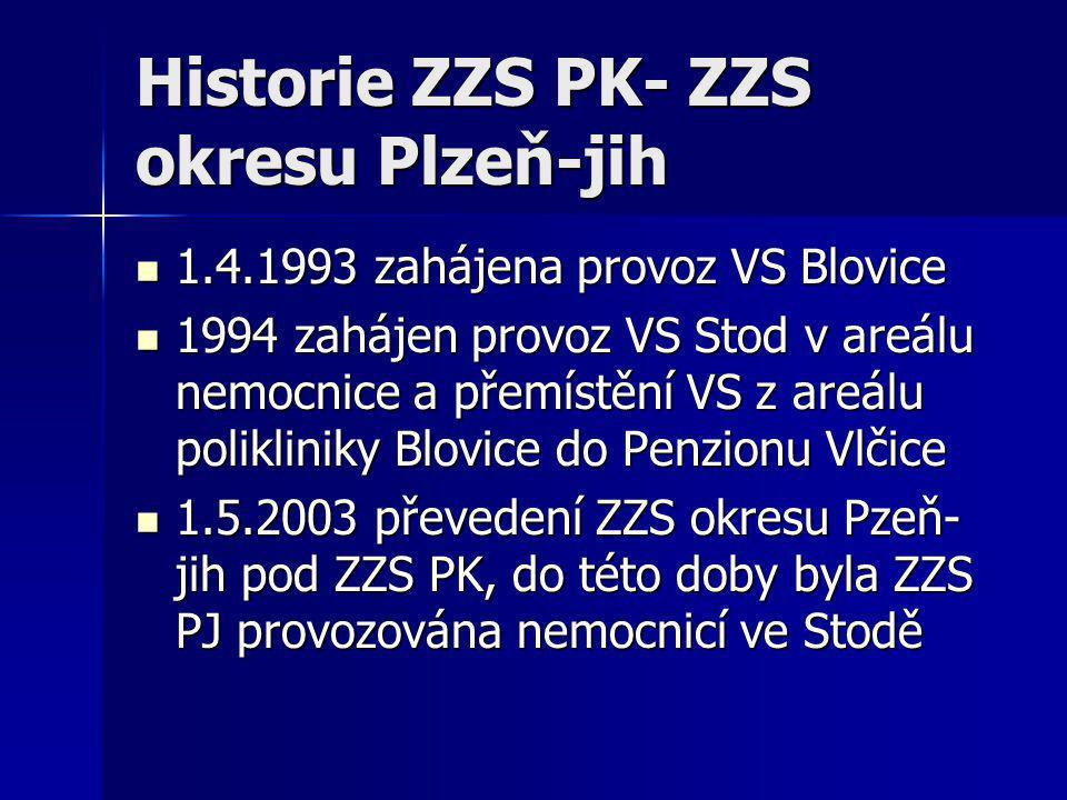 Historie ZZS PK- ZZS okresu Plzeň-jih  1.4.1993 zahájena provoz VS Blovice  1994 zahájen provoz VS Stod v areálu nemocnice a přemístění VS z areálu