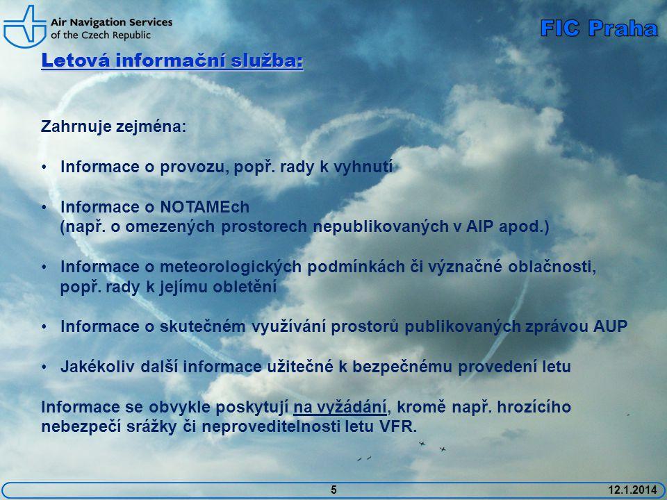 512.1.2014 Letová informační služba: Zahrnuje zejména: • Informace o provozu, popř.