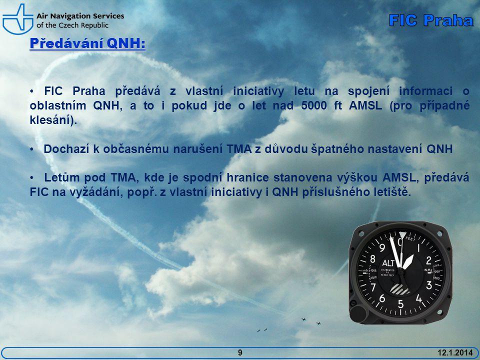 1012.1.2014 Letový plán: • Pokud neřízený let s letovým plánem neodstartuje do 60 minut od EOBT, je nutné oznámit na ARO nový čas EOBT (popř.