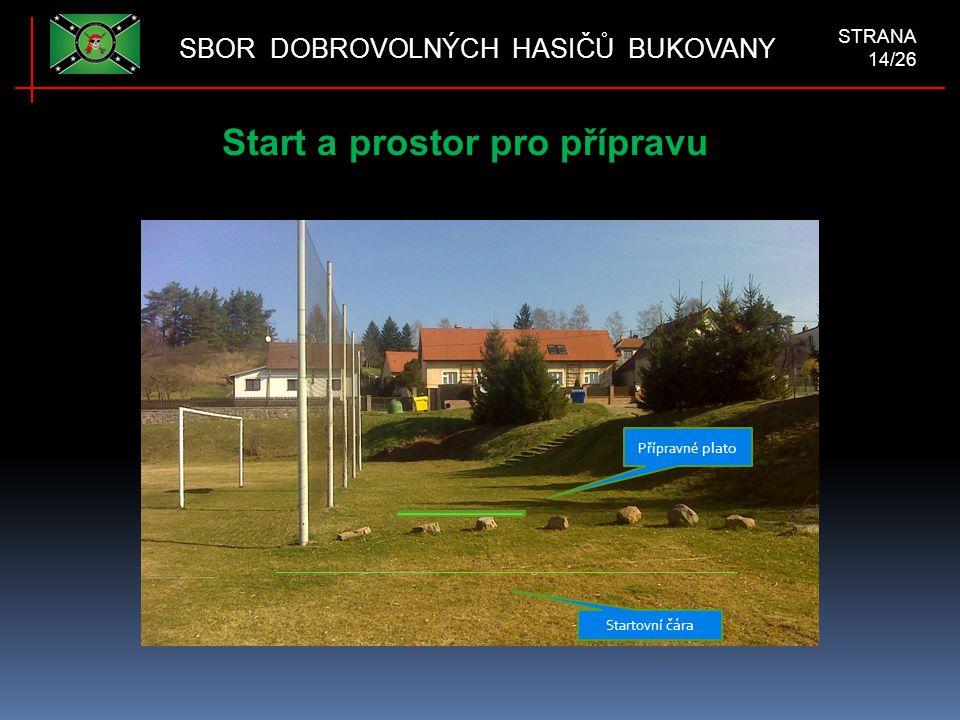 Start a prostor pro přípravu SBOR DOBROVOLNÝCH HASIČŮ BUKOVANY STRANA 14/26 Startovní čára Přípravné plato