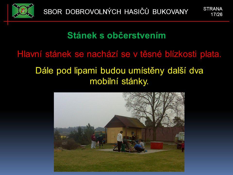 Stánek s občerstvením SBOR DOBROVOLNÝCH HASIČŮ BUKOVANY STRANA 17/26 Hlavní stánek se nachází se v těsné blízkosti plata.