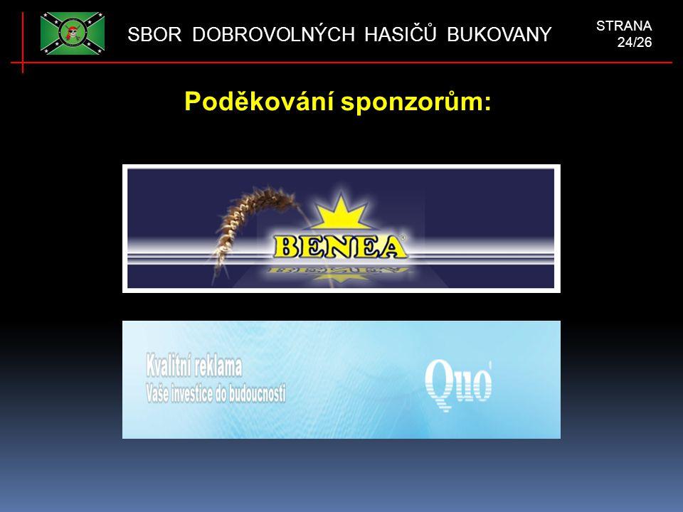 Poděkování sponzorům: SBOR DOBROVOLNÝCH HASIČŮ BUKOVANY STRANA 24/26