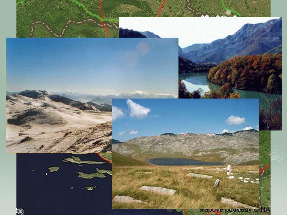 Geografie  Povrch: na většině území Dinárské hory, směrem do vnitrozemí - Bosenské rudohoří, pohoří rozčleněna přítoky Sávy, přecházejí na severu v ú