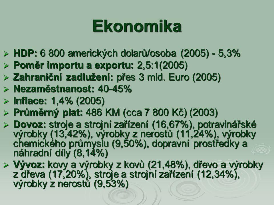 Ekonomika  HDP: 6 800 amerických dolarů/osoba (2005) - 5,3%  Poměr importu a exportu: 2,5:1(2005)  Zahraniční zadlužení: přes 3 mld. Euro (2005) 