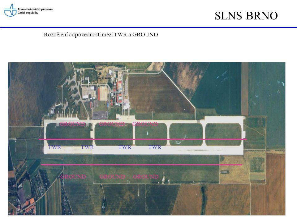 SLNS BRNO TWY R W Y Správná poloha letadel na vyčkávacích místech před vstupem na RWY a po uvolnění RWY na křižovatce TWY Zde letadlo po uvolnění dráhy vyčkává na další instrukce od TWR/GROUND k pojíždění