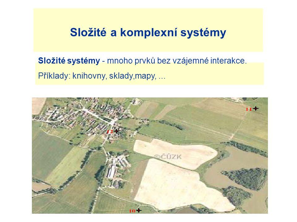Složité a komplexní systémy Složité systémy - mnoho prvků bez vzájemné interakce.