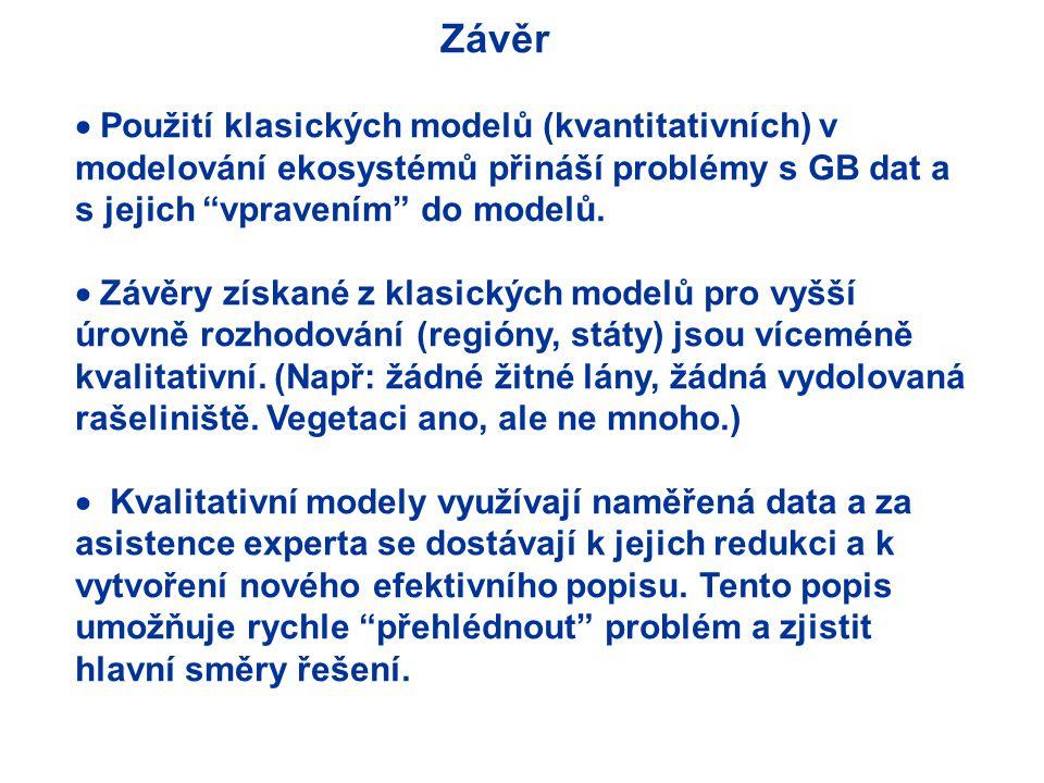 Závěr  Použití klasických modelů (kvantitativních) v modelování ekosystémů přináší problémy s GB dat a s jejich vpravením do modelů.
