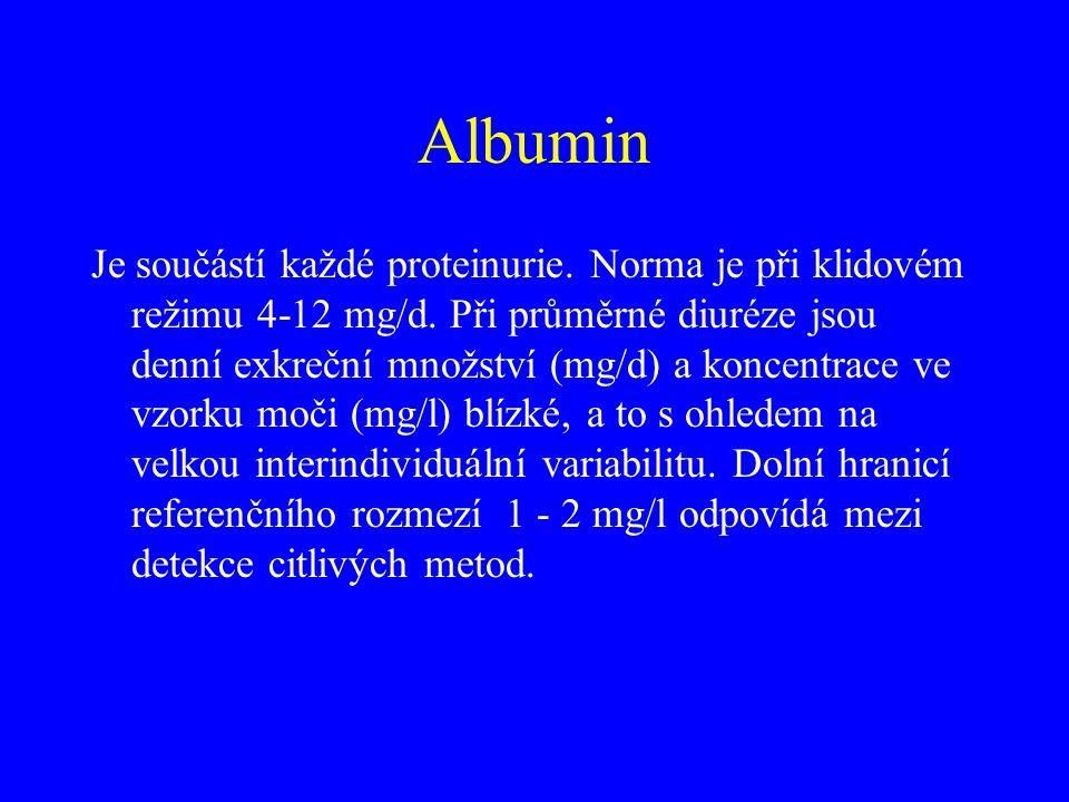 Je součástí každé proteinurie. Norma je při klidovém režimu 4-12 mg/d. Při průměrné diuréze jsou denní exkreční množství (mg/d) a koncentrace ve vzork