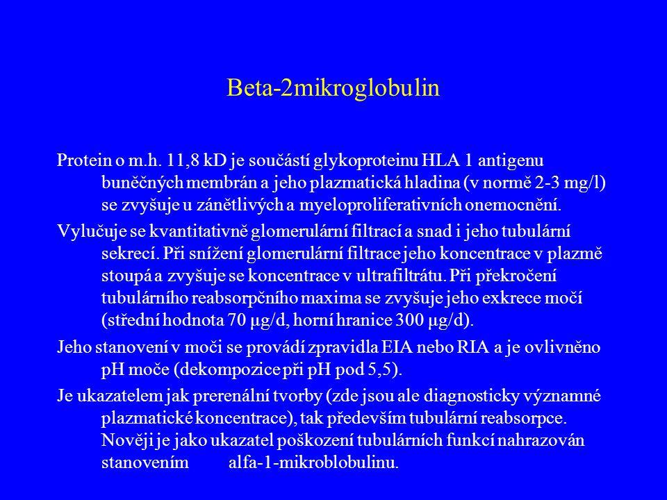 Beta-2mikroglobulin Protein o m.h. 11,8 kD je součástí glykoproteinu HLA 1 antigenu buněčných membrán a jeho plazmatická hladina (v normě 2-3 mg/l) se