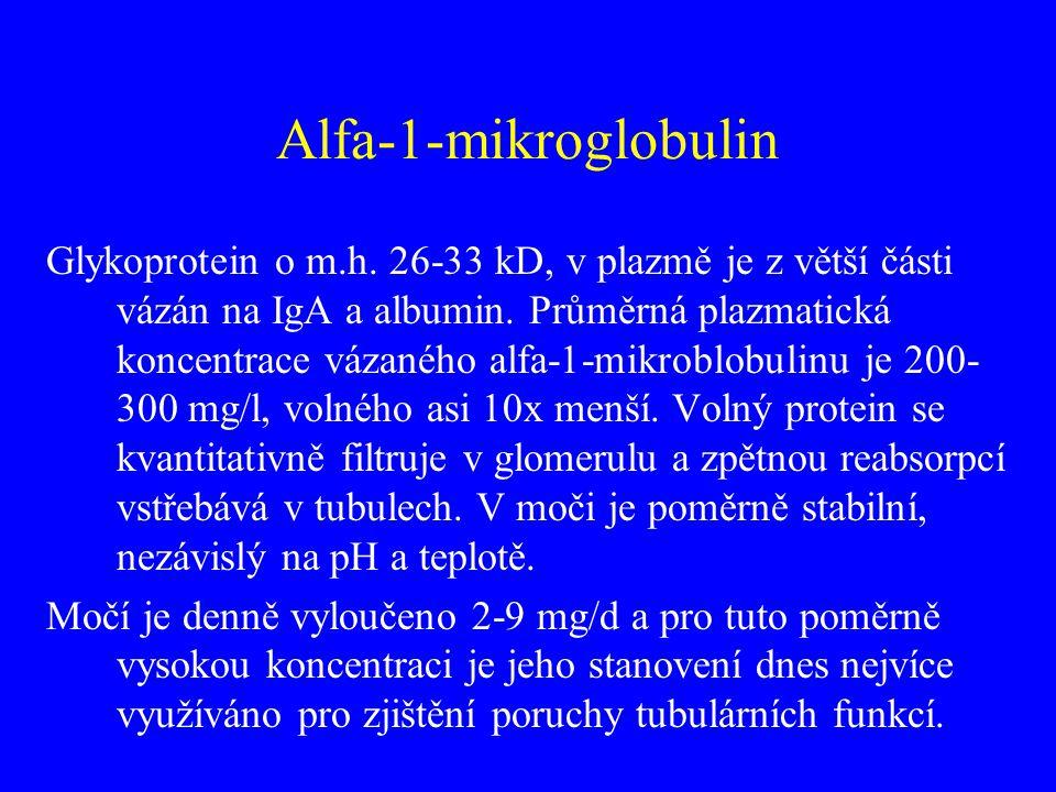 Alfa-1-mikroglobulin Glykoprotein o m.h. 26-33 kD, v plazmě je z větší části vázán na IgA a albumin. Průměrná plazmatická koncentrace vázaného alfa-1-
