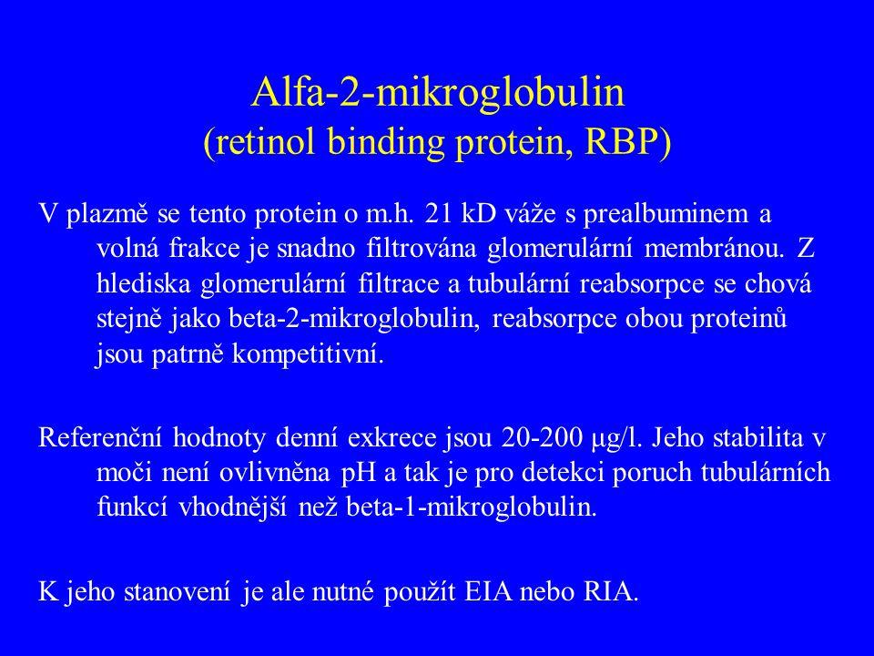Alfa-2-mikroglobulin (retinol binding protein, RBP) V plazmě se tento protein o m.h. 21 kD váže s prealbuminem a volná frakce je snadno filtrována glo