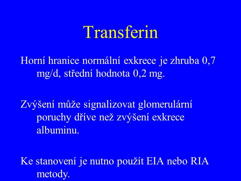 Transferin Horní hranice normální exkrece je zhruba 0,7 mg/d, střední hodnota 0,2 mg. Zvýšení může signalizovat glomerulární poruchy dříve než zvýšení
