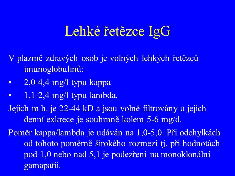 Lehké řetězce IgG V plazmě zdravých osob je volných lehkých řetězců imunoglobulinů: •2,0-4,4 mg/l typu kappa •1,1-2,4 mg/l typu lambda. Jejich m.h. je