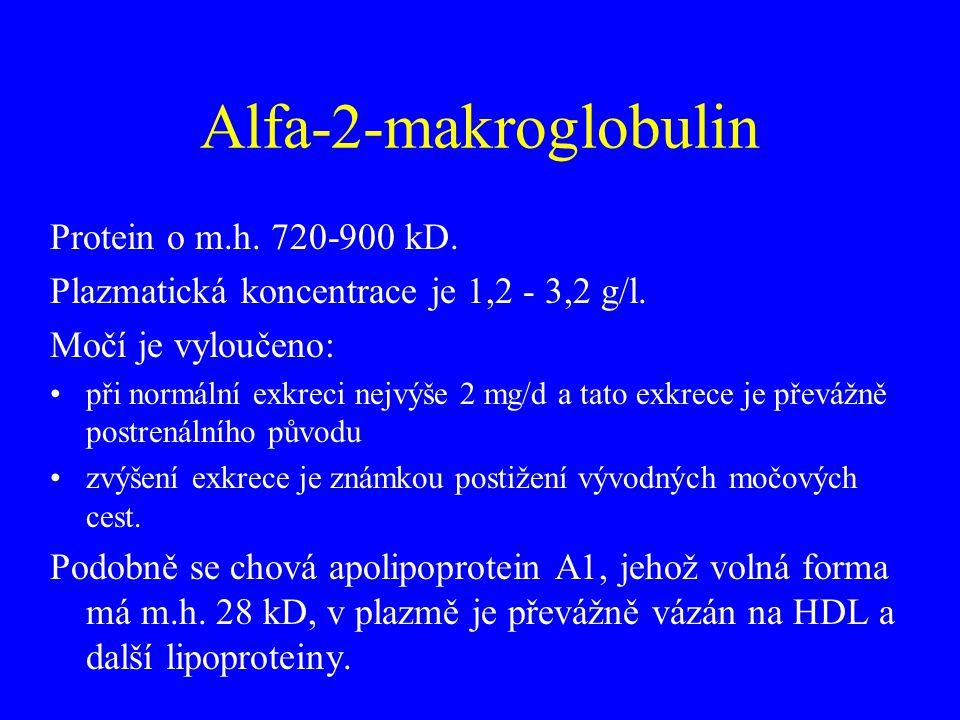 Alfa-2-makroglobulin Protein o m.h. 720-900 kD. Plazmatická koncentrace je 1,2 - 3,2 g/l. Močí je vyloučeno: •při normální exkreci nejvýše 2 mg/d a ta