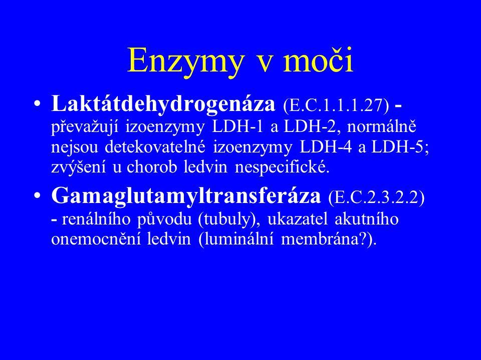Enzymy v moči •Laktátdehydrogenáza (E.C.1.1.1.27) - převažují izoenzymy LDH-1 a LDH-2, normálně nejsou detekovatelné izoenzymy LDH-4 a LDH-5; zvýšení