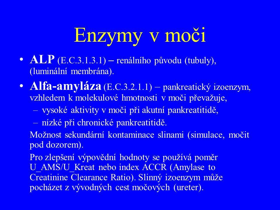 Enzymy v moči •ALP (E.C.3.1.3.1) – renálního původu (tubuly), (luminální membrána). •Alfa-amyláza (E.C.3.2.1.1) – pankreatický izoenzym, vzhledem k mo