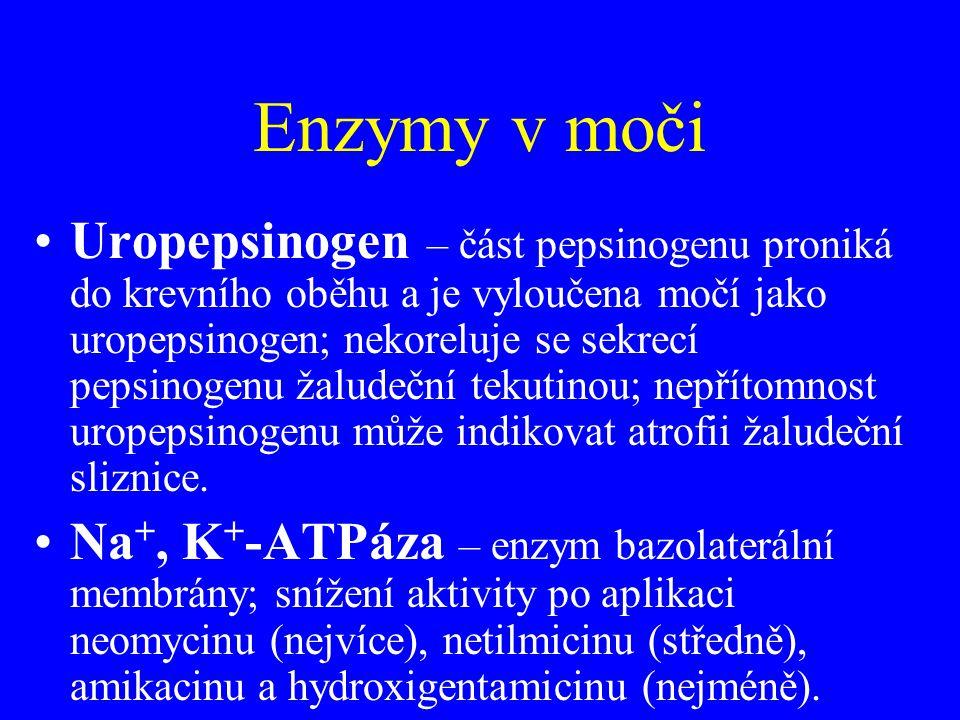 Enzymy v moči •Uropepsinogen – část pepsinogenu proniká do krevního oběhu a je vyloučena močí jako uropepsinogen; nekoreluje se sekrecí pepsinogenu ža