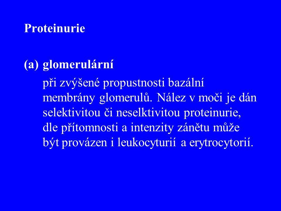 Proteinurie (a)glomerulární při zvýšené propustnosti bazální membrány glomerulů. Nález v moči je dán selektivitou či neselktivitou proteinurie, dle př