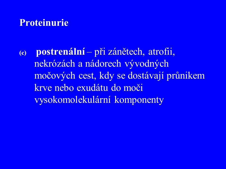 Proteinurie (c) postrenální – při zánětech, atrofii, nekrózách a nádorech vývodných močových cest, kdy se dostávají průnikem krve nebo exudátu do moči