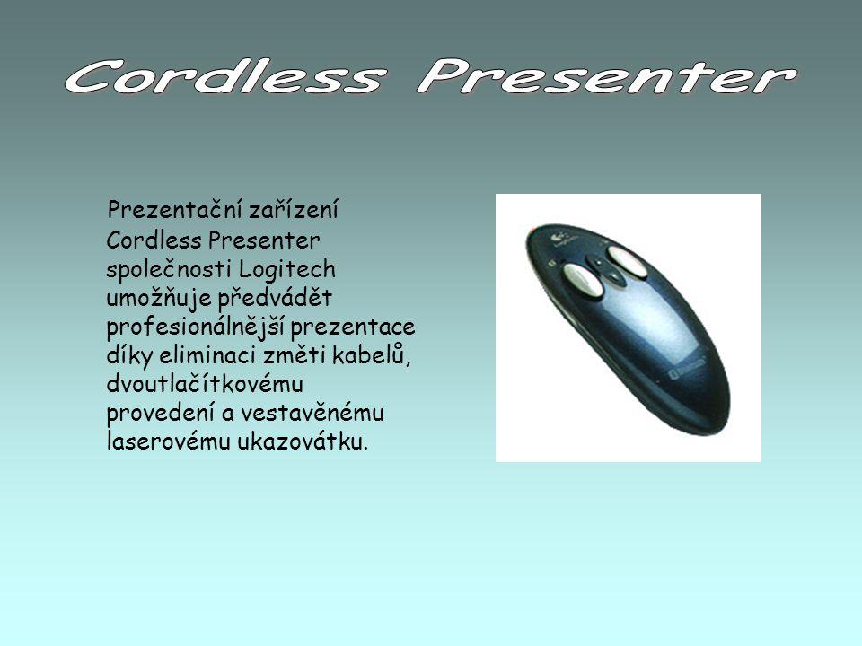 Prezentační zařízení Cordless Presenter společnosti Logitech umožňuje předvádět profesionálnější prezentace díky eliminaci změti kabelů, dvoutlačítkovému provedení a vestavěnému laserovému ukazovátku.