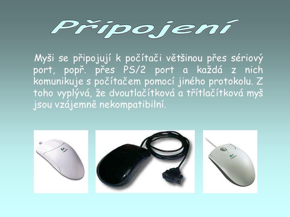 Optické myši jsou vybaveny speciálním senzorem, který snímá povrch pod myší.
