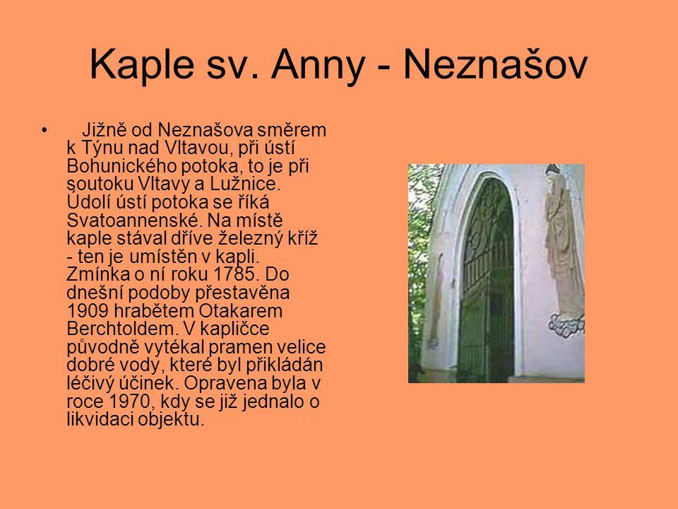 Kaple sv. Anny - Neznašov • Jižně od Neznašova směrem k Týnu nad Vltavou, při ústí Bohunického potoka, to je při soutoku Vltavy a Lužnice. Údolí ústí