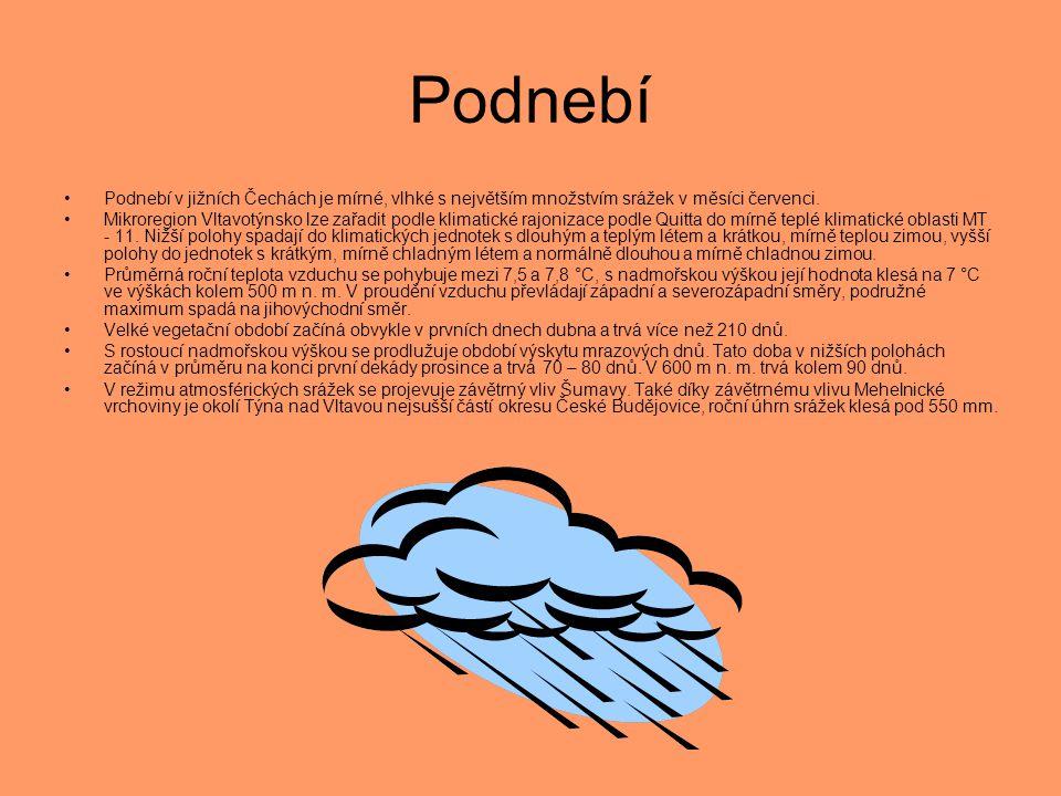 Podnebí •Podnebí v jižních Čechách je mírné, vlhké s největším množstvím srážek v měsíci červenci. •Mikroregion Vltavotýnsko lze zařadit podle klimati