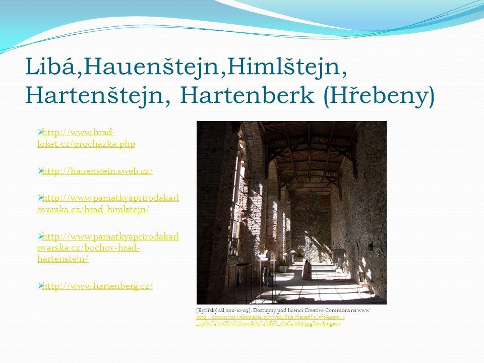 Libá,Hauenštejn,Himlštejn, Hartenštejn, Hartenberk (Hřebeny)  http://www.hrad- loket.cz/prochazka.php http://www.hrad- loket.cz/prochazka.php  http://hauenstein.sweb.cz/ http://hauenstein.sweb.cz/  http://www.pamatkyaprirodakarl ovarska.cz/hrad-himlstejn/ http://www.pamatkyaprirodakarl ovarska.cz/hrad-himlstejn/  http://www.pamatkyaprirodakarl ovarska.cz/bochov-hrad- hartenstejn/ http://www.pamatkyaprirodakarl ovarska.cz/bochov-hrad- hartenstejn/  http://www.hartenberg.cz/ http://www.hartenberg.cz/ [Rytířský sál,2011-10-03].