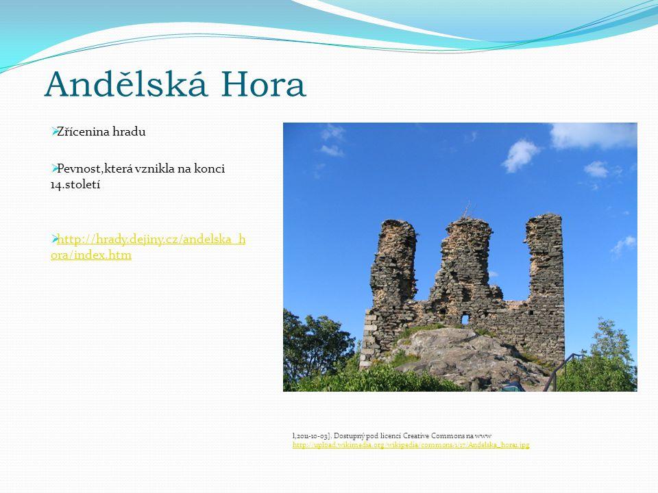 Andělská Hora  Zřícenina hradu  Pevnost,která vznikla na konci 14.století  http://hrady.dejiny.cz/andelska_h ora/index.htm http://hrady.dejiny.cz/andelska_h ora/index.htm l,2011-10-03].