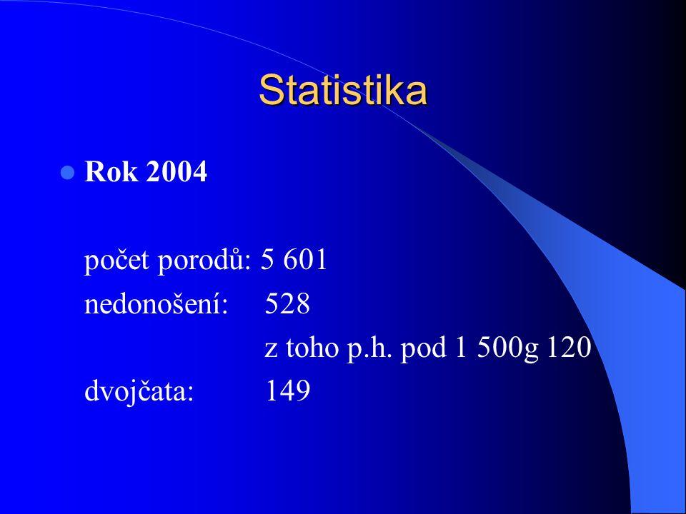 Statistika  Rok 2004 počet porodů: 5 601 nedonošení:528 z toho p.h. pod 1 500g 120 dvojčata:149