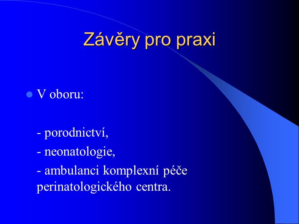Závěry pro praxi  V oboru: - porodnictví, - neonatologie, - ambulanci komplexní péče perinatologického centra.