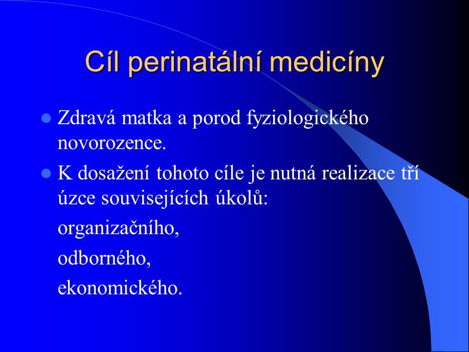 Cíl perinatální medicíny  Zdravá matka a porod fyziologického novorozence.  K dosažení tohoto cíle je nutná realizace tří úzce souvisejících úkolů: