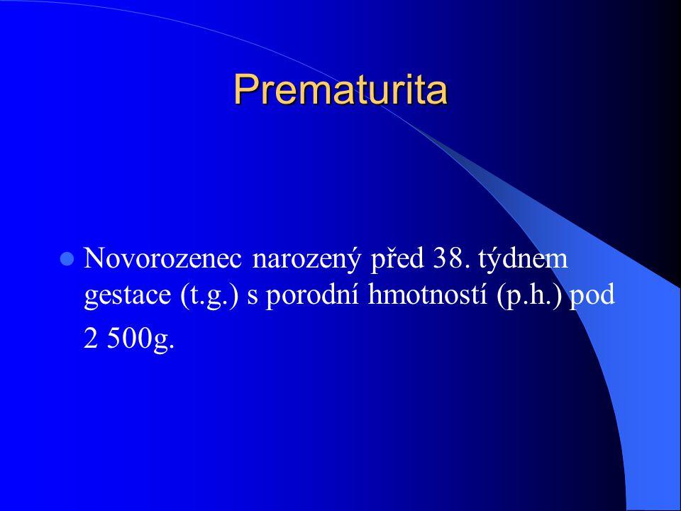 Prematurita  Novorozenec narozený před 38. týdnem gestace (t.g.) s porodní hmotností (p.h.) pod 2 500g.