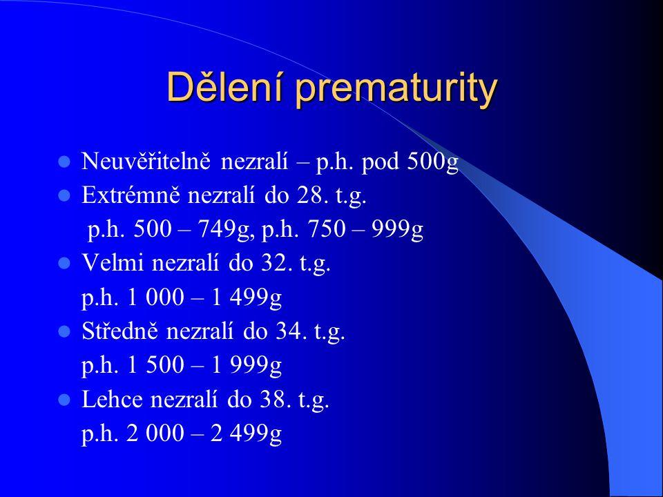 Dělení prematurity  Neuvěřitelně nezralí – p.h. pod 500g  Extrémně nezralí do 28. t.g. p.h. 500 – 749g, p.h. 750 – 999g  Velmi nezralí do 32. t.g.
