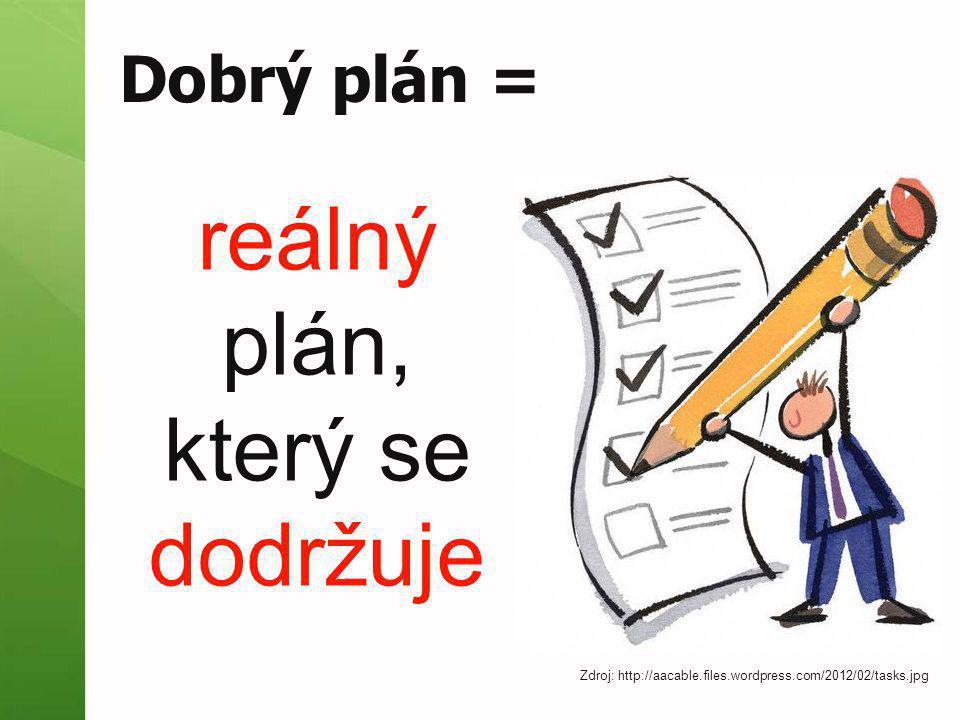Dobrý plán = reálný plán, který se dodržuje Zdroj: http://aacable.files.wordpress.com/2012/02/tasks.jpg