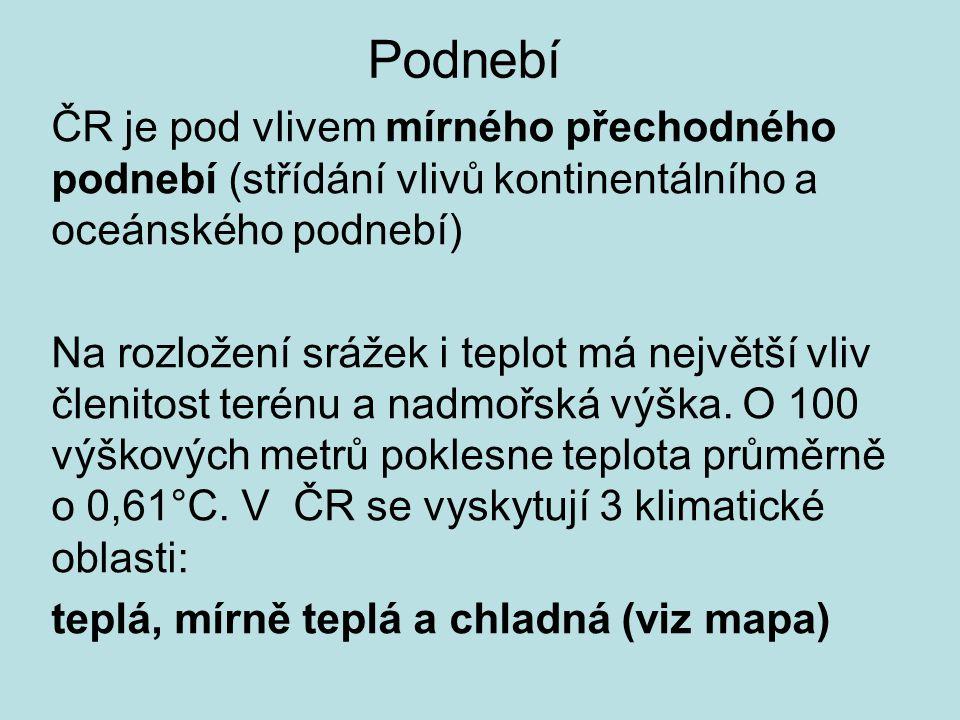 Nejteplejší místa – nížiny a kotliny Praha NAT 40,2°C Hodonín NPT 9,5 °C, Praha 9,4°C Nejchladnější místa – vrcholy pohoří Litvínovice NAT -42,2°C Sněžka NPT 0,2°C, Praděd 0,9°C Nejdeštivější místa – návětrné svahy hor Bílý Potok (Jizerské hory) 1705 mm/rok Lysá hora 1532 mm/rok, Šumava Nejsušší místa – ve srážkovém stínu hor Tušimice 435 mm/rok (Žatecko, Kladensko, Jižní Morava